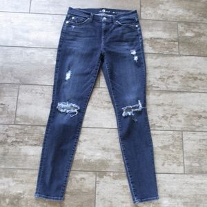 7 For All Mankind Jeans The Skinny Ripped Dark
